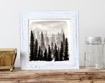 Misty Forest Illustration- Giclee Fine Art Print - Pen and Ink Illustration - Storm Drawing - Artist Rachael Caringella
