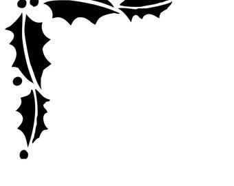 MC19 Reusable Laser-Cut Stencil Corner Border of Holly Leaves with Berries fits 2.5-inch corner