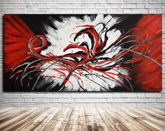 Large Abstract Wall Art RED Painting on Canvas, Original Abstract Art Modern Artwork Paintings Luxury Large Artwork by Kathleen Artist
