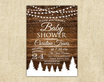 Rustic Winter Baby Shower Invitation. Baby its cold outside Invitation. Winter Gender Neutral Shower. Baby Boy or Girl. Printable Digital.