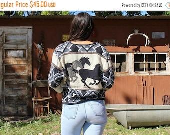ON SALE vintage Kokopelli New Mexico Collection coat // southwestern coat // horse print blanket coat