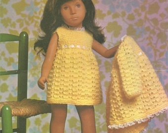 Dolls Clothes PDF Knitting Pattern : Nightdress & Housecoat . Sasha Doll . 17 - 18 inch dolly . Doll Outfit Pattern . Digital Download