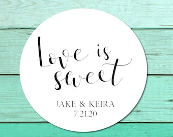 Wedding Stickers for Favors, Love Is Sweet Sticker, Favor Labels, Wedding Favor Stickers, Personalized Wedding Label, Set of 12