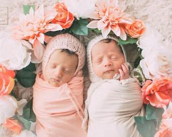 Newborn wrap set, 7 colors, Newborn hat and wrap, Newborn photo prop, Wrap and hat, newborn hat, newborn props, Natural newborn wrap