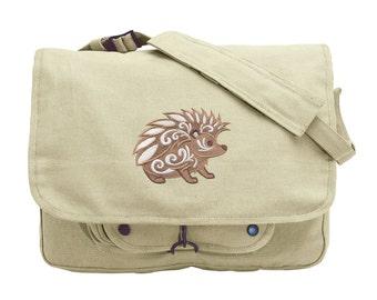 Hedgehog with Flourish Embroidered Canvas Messenger Bag