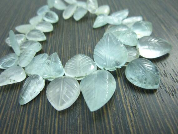 AA-Milky Aquamarine Carved Leaves- 7