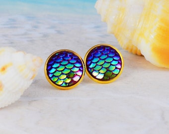 Gold mermaid studs, dragon scales, fish scales, Iridescent earrings, mermaid stud earrings, blue mermaid