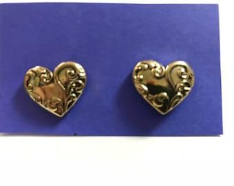 Gold Embossed Heart Earrings