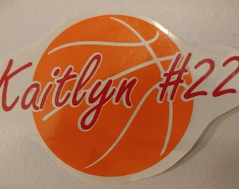 Personalized Basketball car decal, vinyl decal, custom basketball car decal, favorite basketball player and name