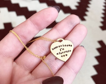 Heaven Knows I'm Miserable Now, The Smiths // Hand-Stamped Brass Necklace
