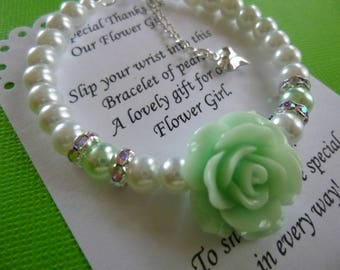 Rose and Pearl Flower Girl Bracelet, Rose/Pearl Flower Girl Bracelet, Little Girl's Rose and Pearl Bracelet, Little Girl's Birthday Gift
