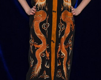 1920s orange and black silk robe    20s Chinoiserie dragon embroidery button down lounge jacket