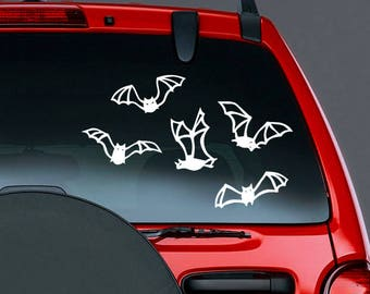 Bat DECALS Halloween Decor Set of 5 Vinyl Car Decal