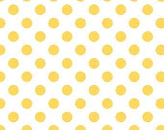 Yellow and White Polka Dot Fabric - Medium Dots from Riley Blake 1/2 Yard