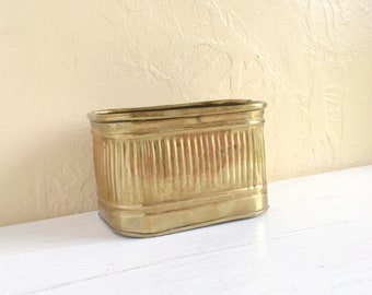 Mid-Century Brass Pot Planter Gold Metal Rectangular Square Plant Holder Small Container Hollywood Regency