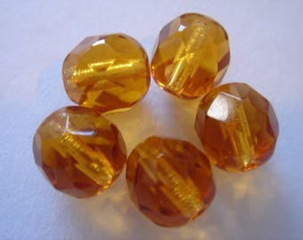5 Czech glass beads faceted 8 mm Topaz