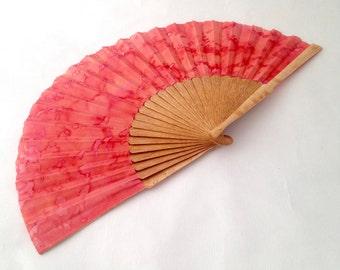 Silk handle fan, Hand fan of Mother's Day, Mother's Day Fan, hand painted fan, bride hand fan, godmother hand fan, wooden hand fan, blue.