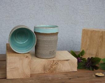 Set of two coffee mugs, ceramic coffee mug set, turquoise mugs, blue mug, coffee mugs, blue coffee mug set, ceramic tea mug, ceramic tea cup