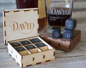 Engraved Whiskey Stones Gift Set Groomsmen Gift Box Set Best Man Gift Scotch Lover Gift Father of the Groom Gift