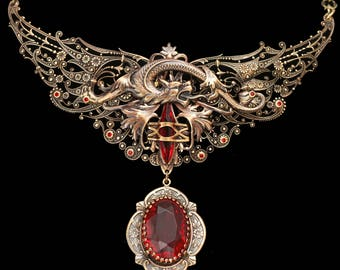 Dragon Necklace Unique Handmade, Dragon Pendant Necklace, Dragon Necklaces For Women, Dragon Pendant, Dragon Necklace Dragon Wings Emerald