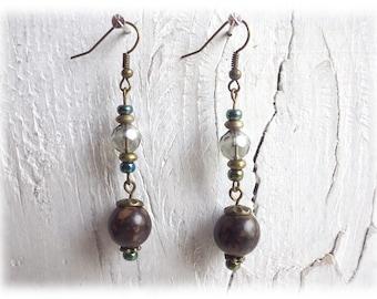 Nut vs. glass - earrings natural etno tribal
