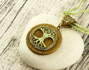 Celtic Tree of Life - Knotwork Necklace - Antique Gold, Green, Earthtone, Silk