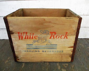 Vintage White Rock Sparkling Beverages Wooden Crate Wood Box Wooden Advertising Case Fairy Logo Soda Pop
