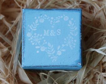 Personalized Ring Box, Ring Bearer, I DO Wedding Box, Turquoise Blue Ring Box, Rustic Box, Bridesmaids Gift, Shower Party, Wedding Keepsake