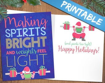 Crossfit inspired christmas cards merry fitmas fitness crossfit inspired christmas cards making spirits bright and weights feel light fitness weightlifting holiday greeting card m4hsunfo