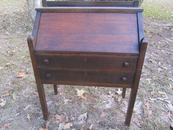 Antique Mission Style Secretary Desk And Chair Slant Top