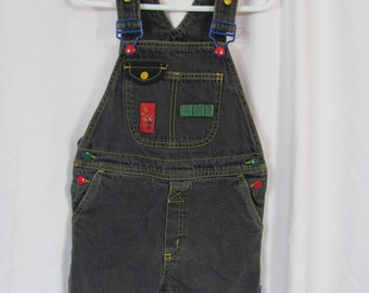 Vintage 90s GYMBOREE Dark Denim Shorts Overalls / BIBS