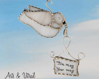 White Stained Glass Bird, This Glass Message Carrier will transmit the message of your choice in a pretty box handmade gift card Suncatcher