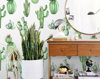 Cactus wallpaper    Watercolor cactus removable wallpaper    Peel and stick    Cactus print    Self adhesive wallpaper #6