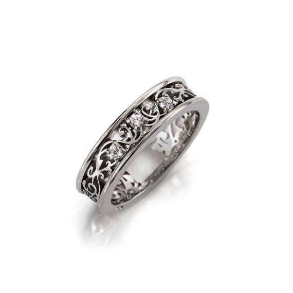 White sapphire ring filigree sapphire wedding band lace