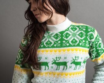 1970's Nordic Reindeer Mock Neck Sweater