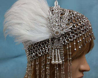 Feather 1920s Headpiece, Great Gatsby Wedding, 1920s Bridal Headpiece, Flapper 1920s Headpiece, Flapper Great Gatsby Hat, Flapper Cap