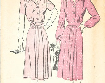 1940s Advance 3075 FF Vintage Sewing Pattern Misses Shirtwaist Dress, One Piece Dress Size 14 Bust 32