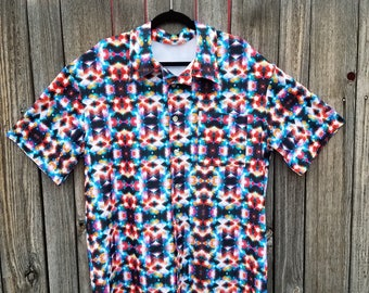Geometirc Shapes Spandex Button Up Party Shirt in Dark Rainbow Colors