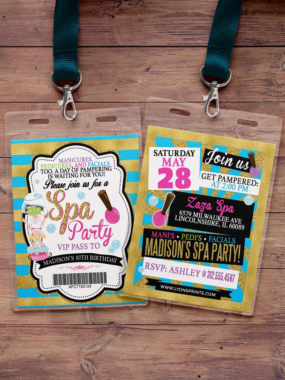 Spa party invitation vip pass backstage pass vip invitation spa party invitation vip pass backstage pass vip invitation birthday invitation pop star lanyard rock star birthday nail polish stopboris Images