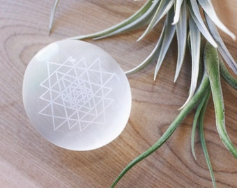 Beautiful Selenite meditation Palmstone etched with Sri Yantra mandala