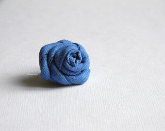 Azure lapel pin - Men boutonniere - Flower stick pin - Buttonhole - Fabric boutonniere - Made in Italy - Blue wedding - Cufflinks set
