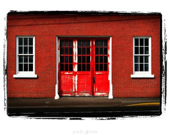 10 x 13 Print Special Firehouse Red Brick Building with Red Door Fine Art Print by Jonah Gilmore
