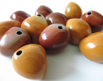 Kukui Nut Beads - Beautiful Shiny Nature Beads with Holes - Large Seed Beads - Hawaii Beads - 12 Beads - Red Orange