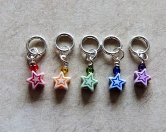 Rainbow Star stitch marker set of 5 red yellow green blue purple
