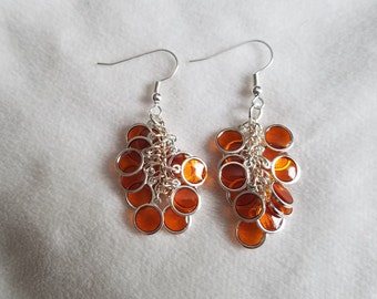 Orange & Silver Circle Cluster Earrings