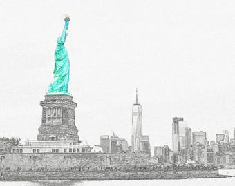 New York Statue of Liberty Photo Stencil Notecard 5x7 10's with envelopes