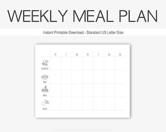 Weekly Meal Plan: Home Management Binder, Therapy Journal, Health, Weight Loss, Depression, Anxiety, Eating Disorder, Printable, Exercise