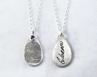 Fingerprint Necklace, Fingerprint Jewelry, Handwriting Necklace, Teardrop Shaped Fingerprint Pendant with birthstone and handwriting on back