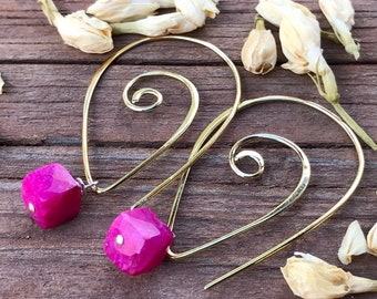 Ruby Moonstone Earrings Vermeil interchangeable