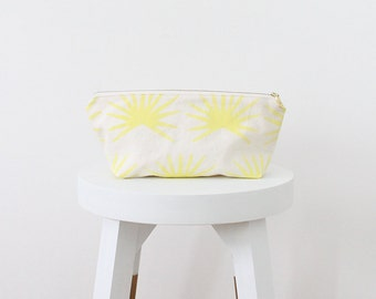 fan palm leaf small zip pouch limoncello yellow tropical SALE